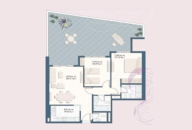 Mangrove Place Floor Plan 2 Bedroom Apartment b 1 1510