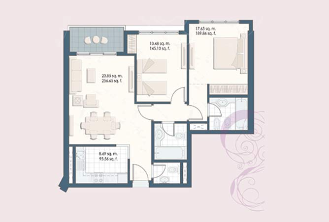 Mangrove Place Floor Plan 2 Bedroom Apartment b 2 956