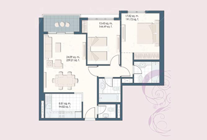 Mangrove Place Floor Plan 2 Bedroom Apartment b 962