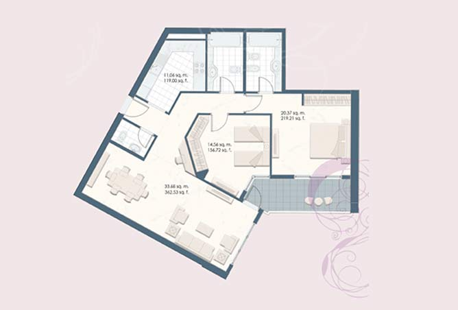Mangrove Place Floor Plan 2 Bedroom Apartment c 1217