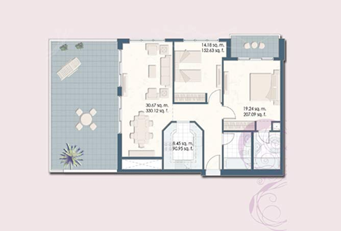 Mangrove Place Floor Plan 2 Bedroom Apartment e 1 1504
