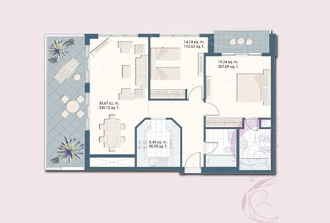 Mangrove Place Floor Plan 2 Bedroom Apartment e 2 1282