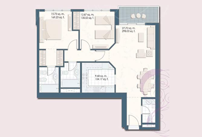 Mangrove Place Floor Plan 2 Bedroom Apartment h 1028