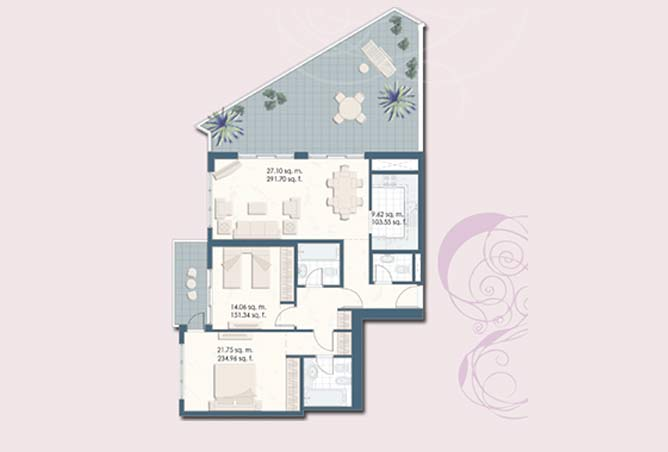 Mangrove Place Floor Plan 2 Bedroom Apartment i 1516
