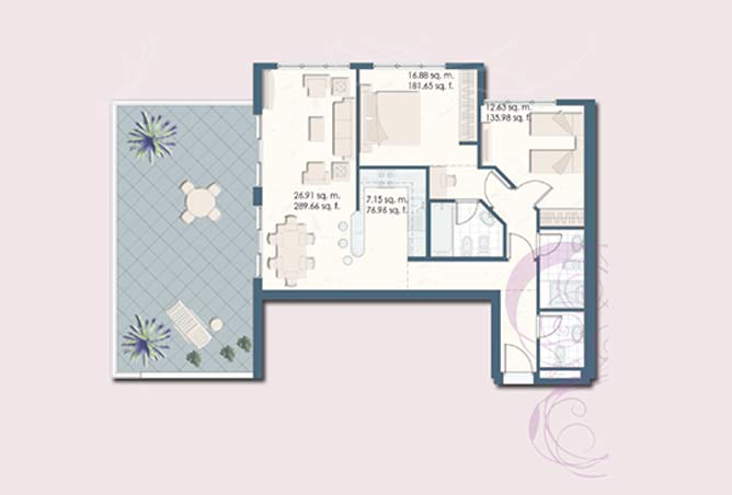 Mangrove Place Floor Plan 2 Bedroom Apartment j 1442