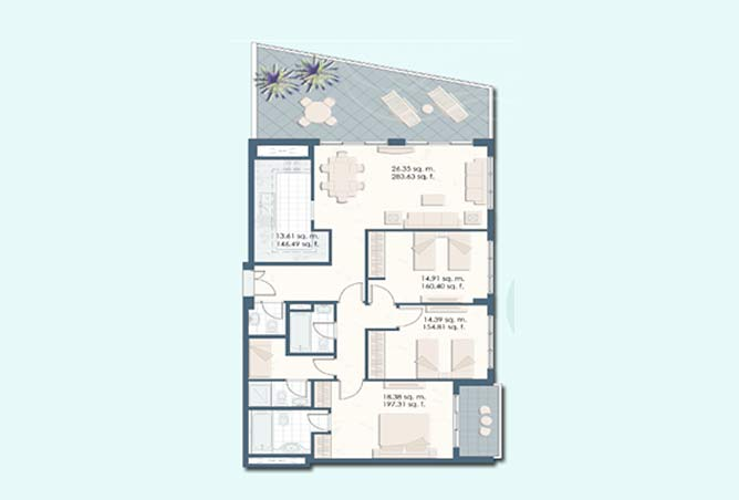Mangrove Place Floor Plan 3 Bedroom Apartment a 1691