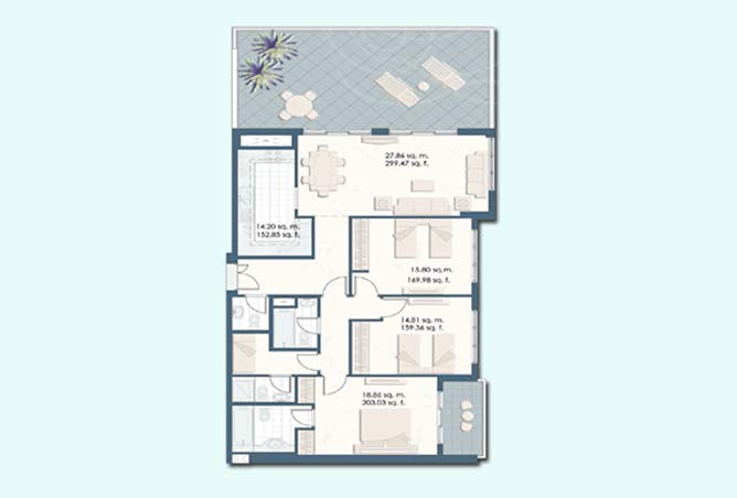 Mangrove Place Floor Plan 3 Bedroom Apartment a 4 1884