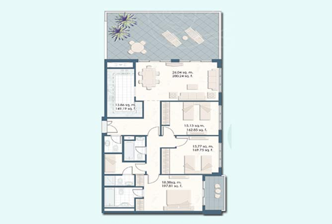 Mangrove Place Floor Plan 3 Bedroom Apartment a 5 dash 1829