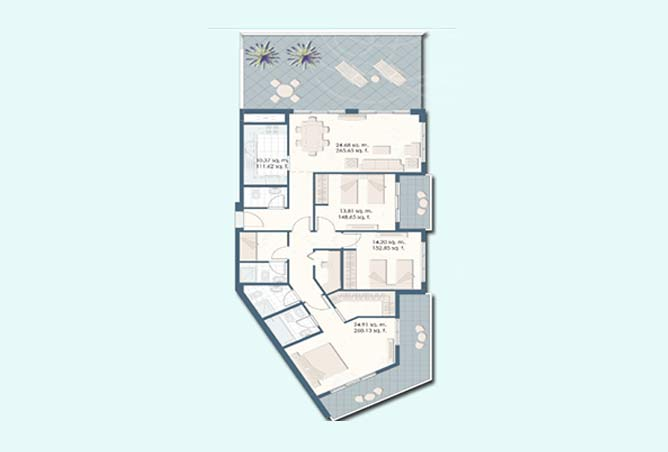 Mangrove Place Floor Plan 3 Bedroom Apartment d 1968