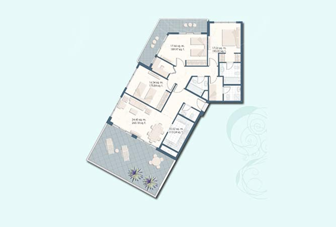 Mangrove Place Floor Plan 3 Bedroom Apartment e 1952