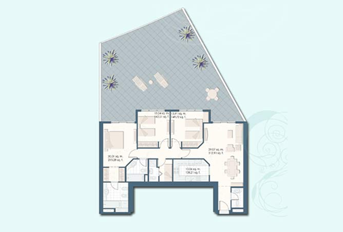 Mangrove Place Floor Plan 3 Bedroom Apartment h 2509