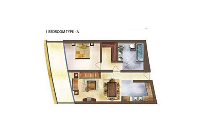 Marina Bay Floor Plan 1 Bedroom Apartment Type a
