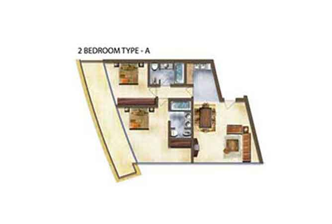 Marina Bay Floor Plan 2 Bedroom Apartment Type a