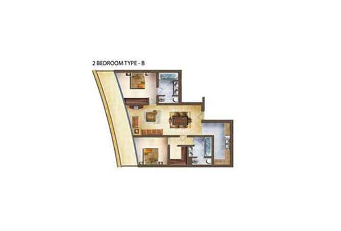 Marina Bay Floor Plan 2 Bedroom Apartment Type b