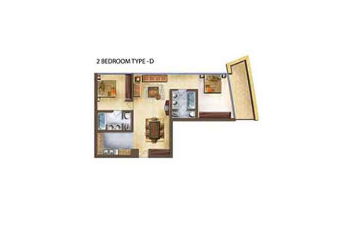 Marina Bay Floor Plan 2 Bedroom Apartment Type d