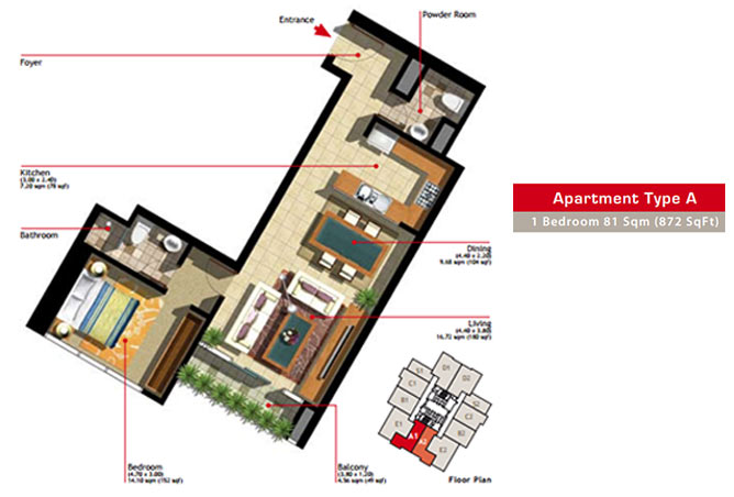Marina Heights Floor Plan 1 Bedroom Apartment Type A