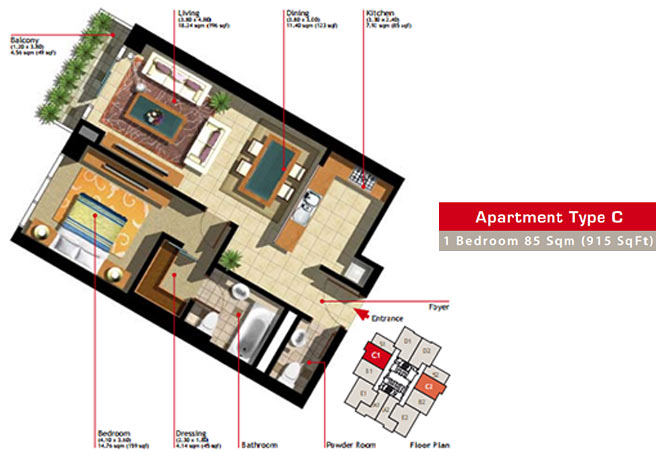 Marina Heights Floor Plan 1 Bedroom Apartment Type C