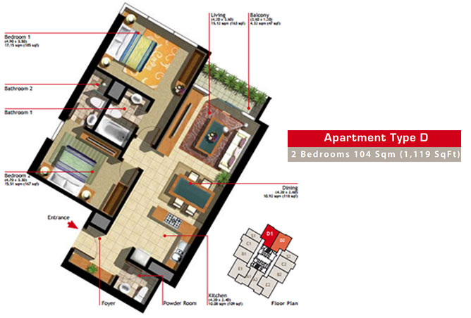Marina Heights Floor Plan 2 Bedroom Apartment Type D-1
