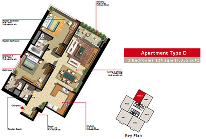 Marina Heights Floor Plan 2 Bedroom Apartment Type D-2