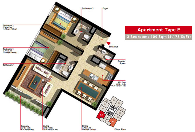 Marina Heights Floor Plan 2 Bedroom Apartment Type E