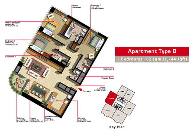Marina Heights Floor Plan 3 Bedroom Apartment Type B