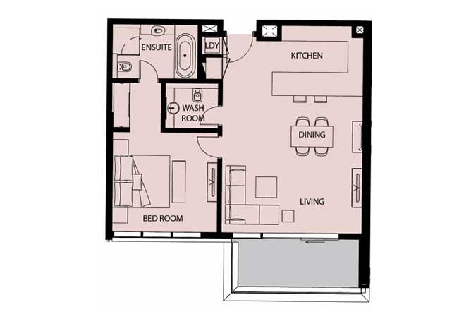 Mayan Floor Plan 1 Bedroom Apartment Type 1d 2 977 Sqft 1
