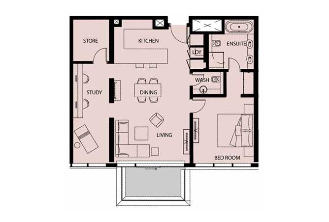 Mayan Floor Plan 1 Bedroom Apartment Type 1m 1151 Sqft 1