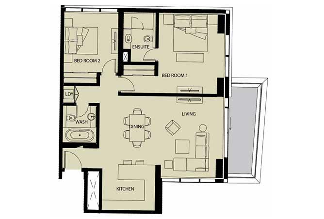 Mayan Floor Plan 2 Bedroom Apartment Type 2b 1232 Sqft 1