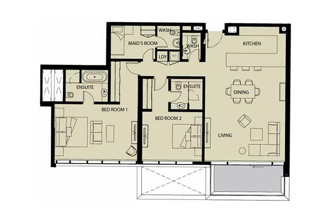 Mayan Floor Plan 2 Bedroom Apartment Type 2k 1 1545 Sqft 1