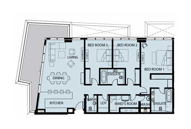 Mayan Floor Plan 3 Bedroom Apartment Type 3b 2186 Sqft 1
