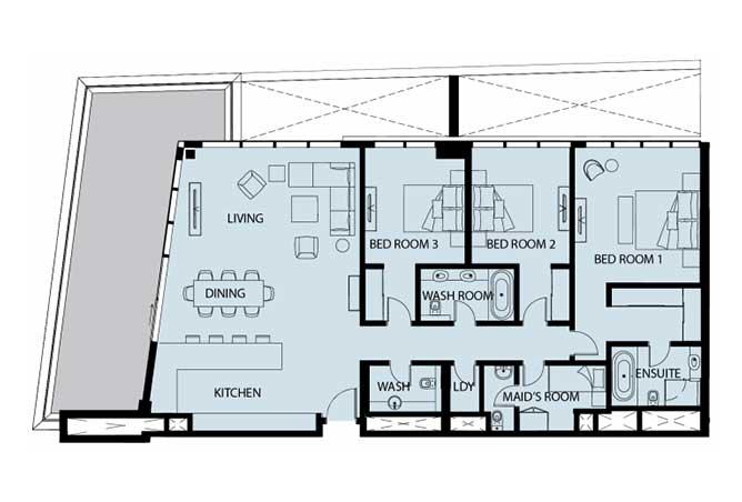 Mayan Floor Plan 3 Bedroom Apartment Type 3f 2380 Sqft 1