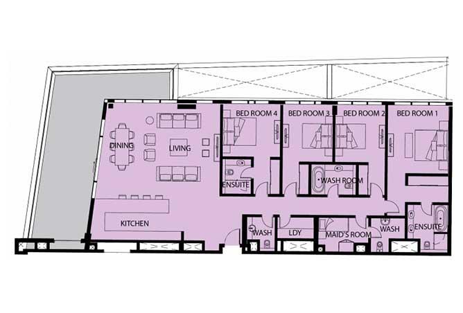 Mayan Floor Plan 4 Bedroom Apartment 4d 2986 Sqft 1