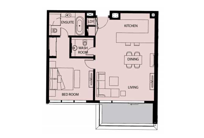 Mayan Floor Plan 1 Bedroom Apartment 1d 977 Sqft