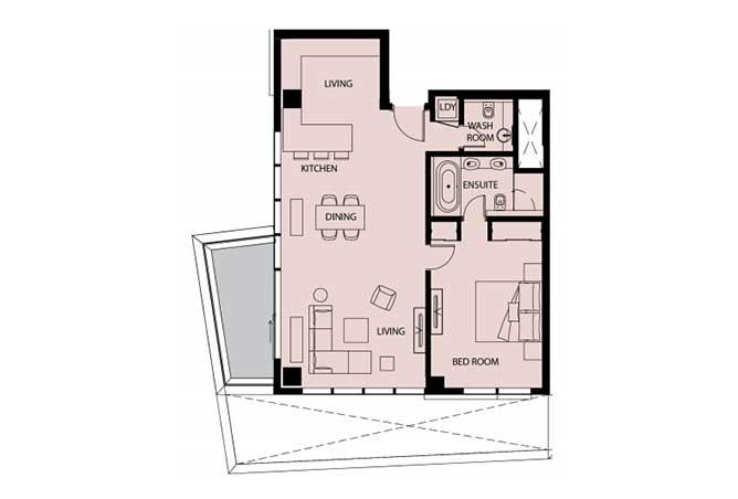 Mayan Floor Plan 1 Bedroom Apartment 1h 1 1110 Sqft