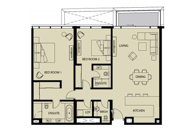 Mayan Floor Plan 2 Bedroom Apartment 2h 1461 Sqft