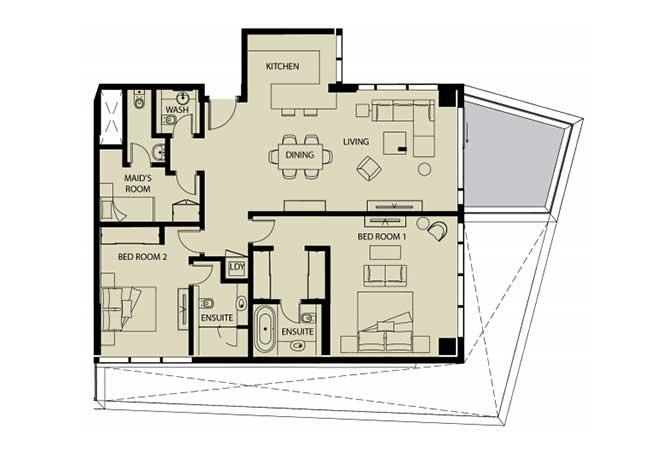 Mayan Floor Plan 2 Bedroom Apartment 2o 1626 Sqft