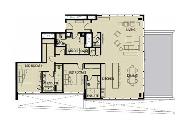 Mayan Floor Plan 2 Bedroom Apartment 2r 2420 Sqft