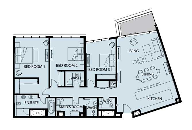 Mayan Floor Plan 3 Bedroom Apartment 3h 2090 Sqft