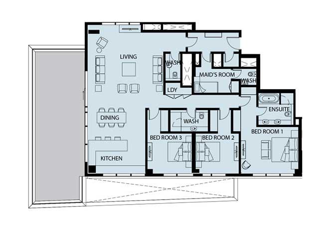Mayan Floor Plan 3 Bedroom Apartment 3i 2634 Sqft