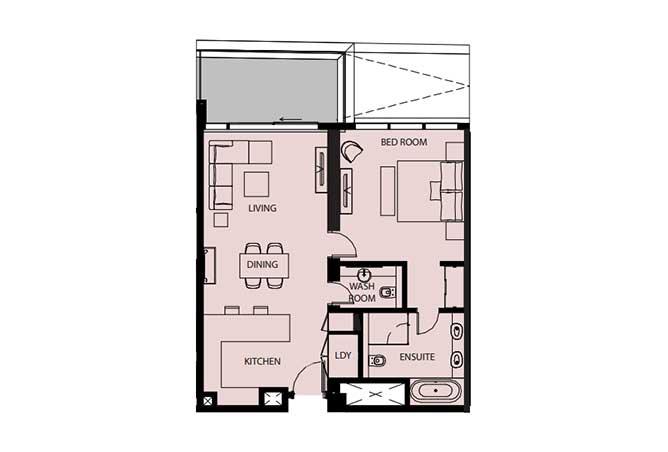 Mayan Floor Plan 1 Bedroom Flat 1d 970 Sqft
