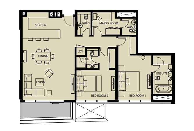 Mayan Floor Plan 2 Bedroom Flat 2k 1443 Sqft