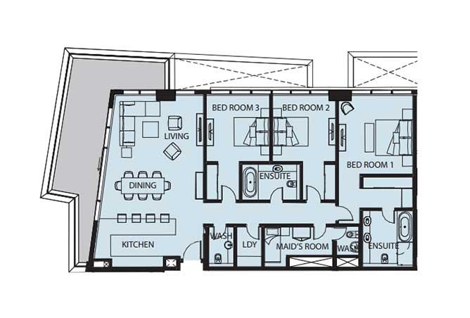 Mayan Floor Plan 3 Bedroom Flat 3b 2165 Sqft