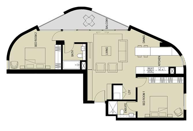 Meera Towers Floor Plan 2 Bedroom Apartment Type c 1268