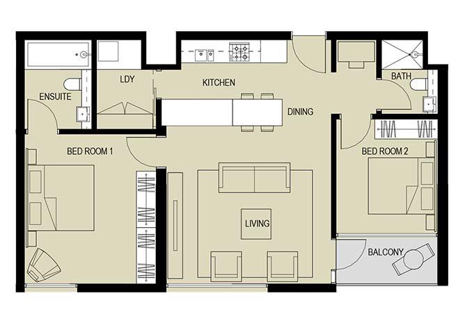 Meera Towers Floor Plan 2 Bedroom Apartment Type d 1038