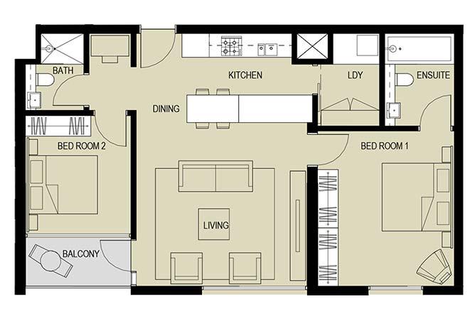 Meera Towers Floor Plan 2 Bedroom Apartment Type e 1039