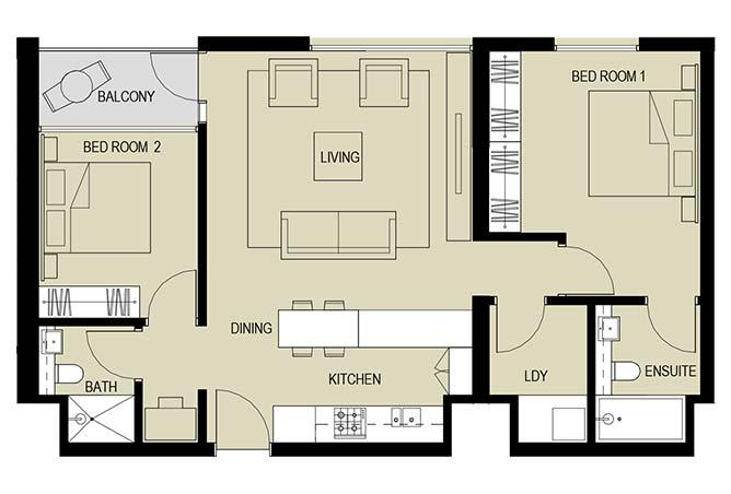 Meera Towers Floor Plan 2 Bedroom Apartment Type f 1032