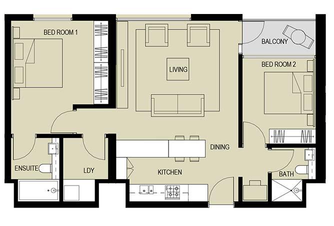 Meera Towers Floor Plan 2 Bedroom Apartment Type g 1031