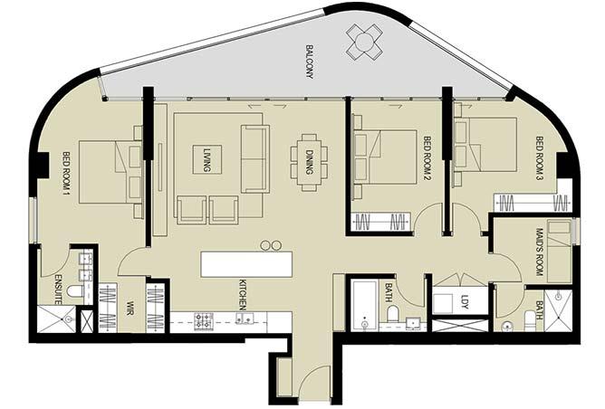 Meera Towers Floor Plan 3 Bedroom Apartment Type a 1718