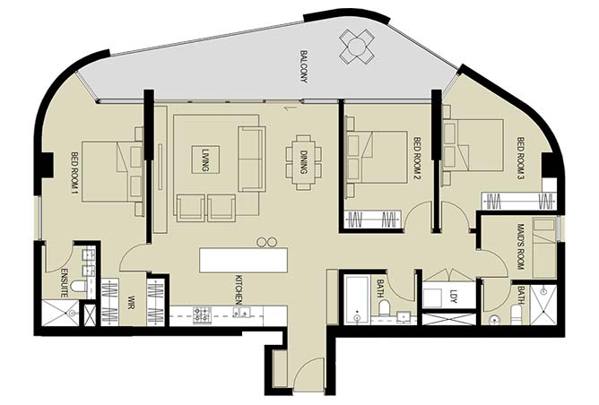 Meera Towers Floor Plan 3 Bedroom Apartment Type b 1766