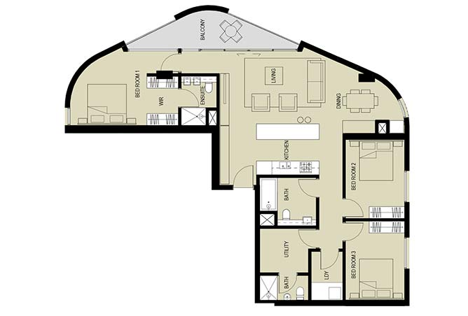 Meera Towers Floor Plan 3 Bedroom Apartment Type c 1620